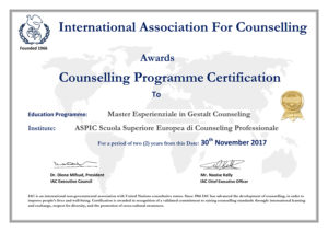 Il corso èriconosciuto da IAC European Association for Counselling