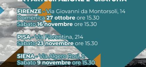 Sabato 14 dicembre alle ore 15.30 presso la nostra sede di Firenze in Via Giovanni da Montorsoli, 14 si terrà la Presentazione dei Corsi di Formazione in Counseling per l'anno […]